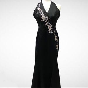Morgan & Co Formal Long Black Halter Dress